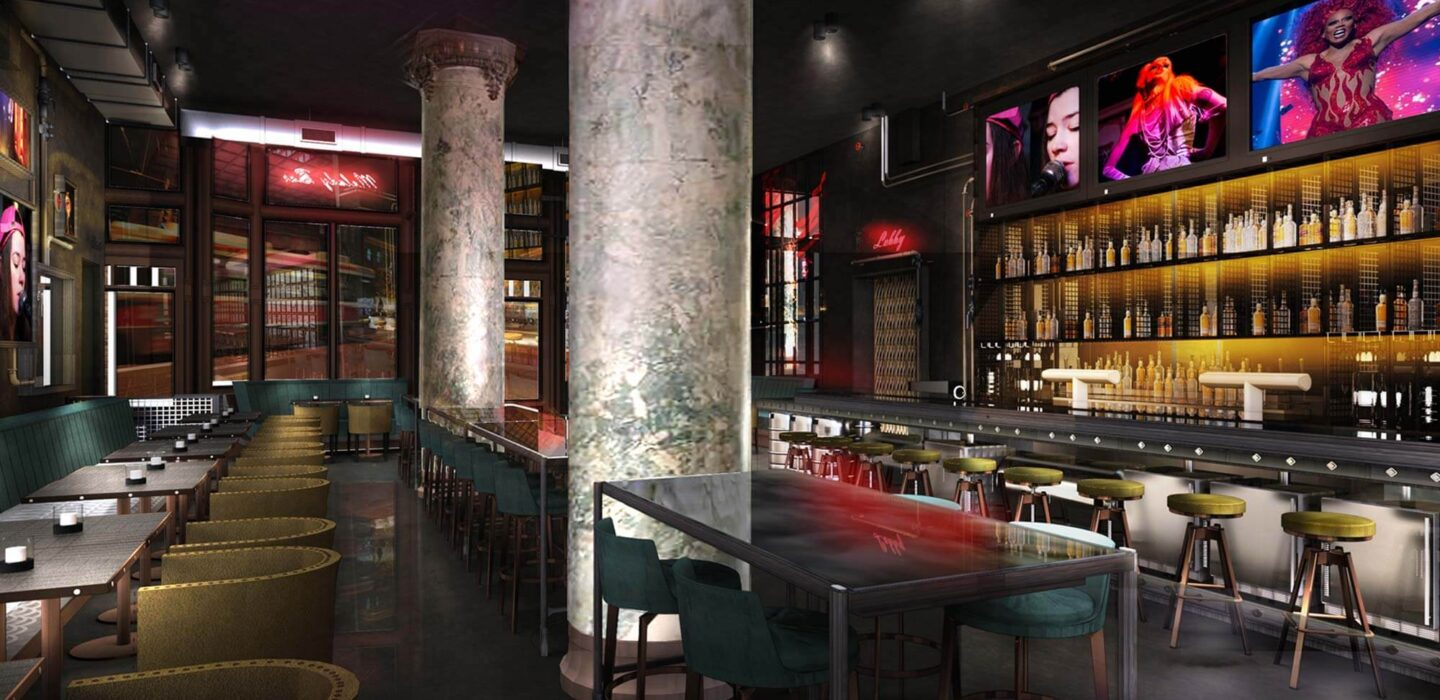 rendering of Melody Bar at Gladstone House under neon lighting