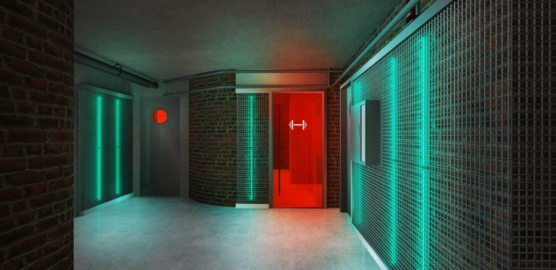 neon lighting decorates fitness room door