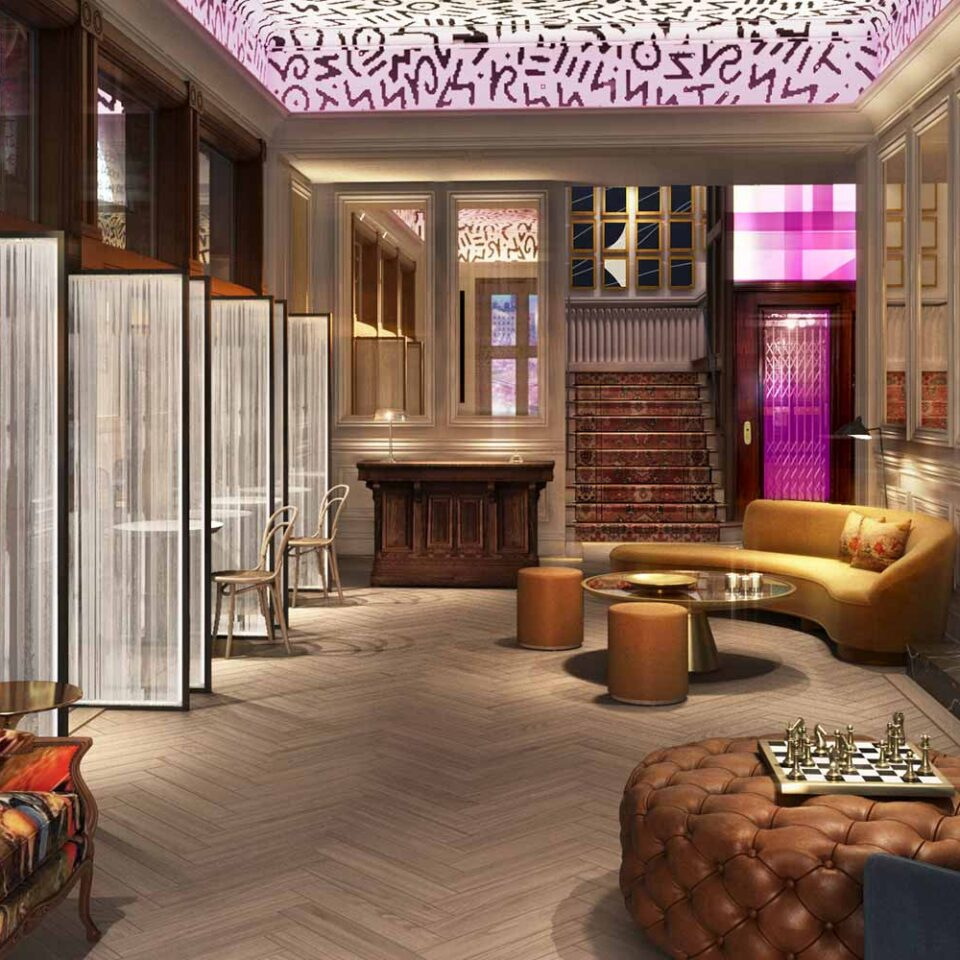 rendering of Gladstone House lobby with graphic painted ceiling and mid century modern furniture