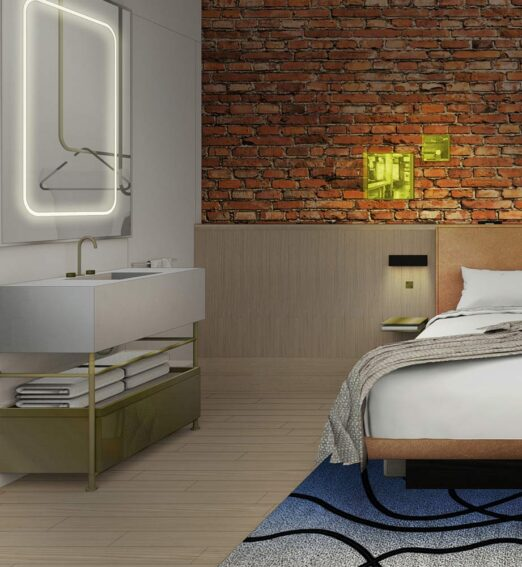 rendering of guestroom at Gladstone House with brick wall and neon lighting