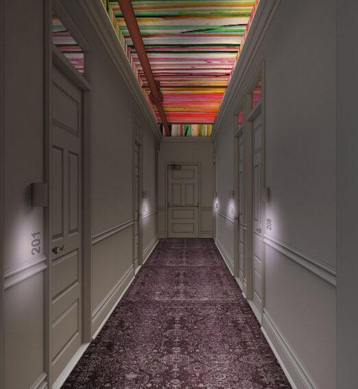 rendering of corridor hallway leading to guestrooms