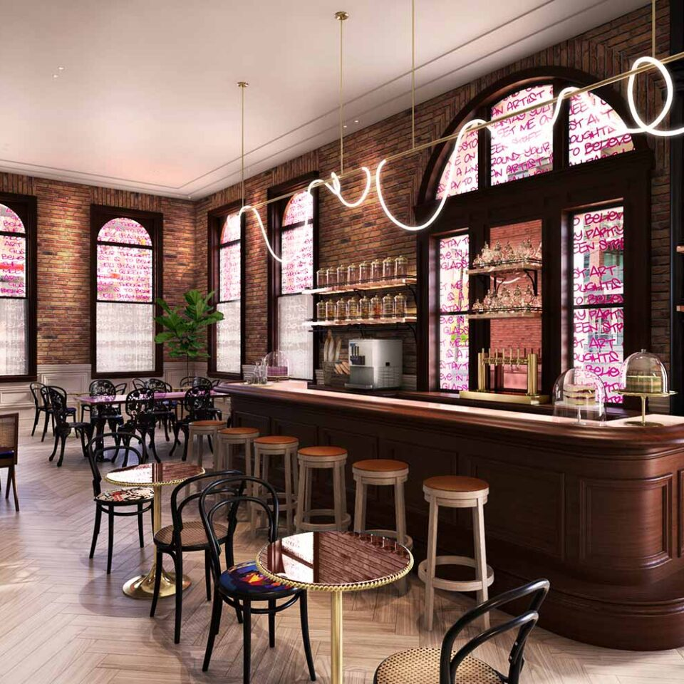 rendering of a cafe with a wooden bar, small tables, and brick interior wall