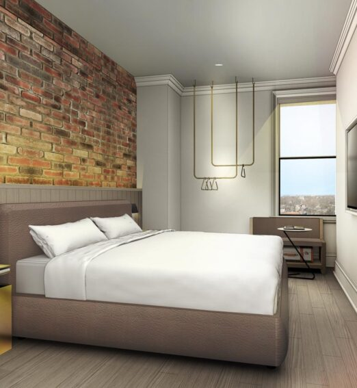 guestroom rendering with a large king bed, nighstand, television, and clothing rack