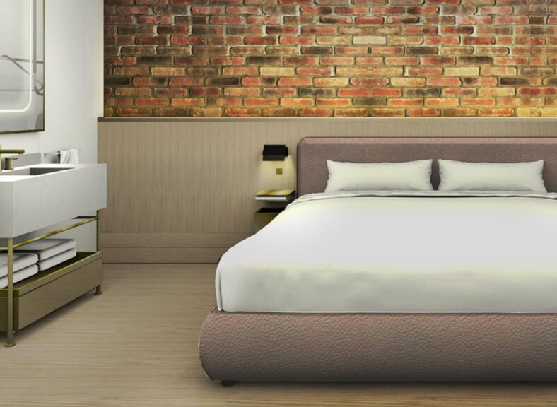 guestroom rendering with an in-room sink and large bed